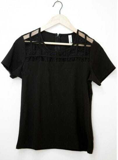 Black Short Sleeve Chiffon Checks Mesh T-Shirt with Zipper Back