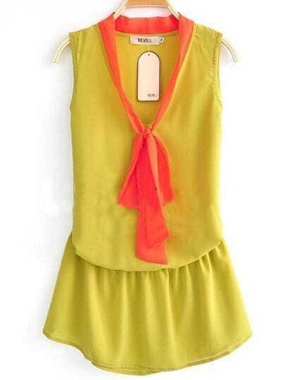Yellow High Neck Sleeveless Bow Elastic Waist Chiffon Dress