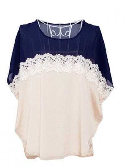 Navy Batwing Sleeve Floral Lace Embellished Chiffon Blouse