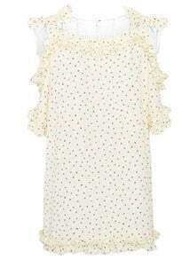 Beige Off the Shoulder Bow Tie Shoulder Polka Dot Chiffon Blouse