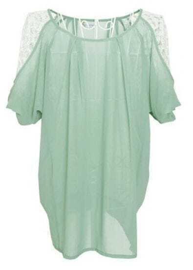 Green Lace Embellished Raglan Sleeve Pleated Chiffon Blouse