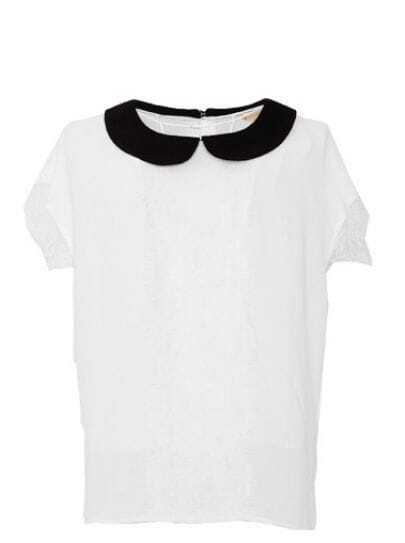 White Contrast Collar Short Sleeve Floral Lace Trim Chiffon Shirt
