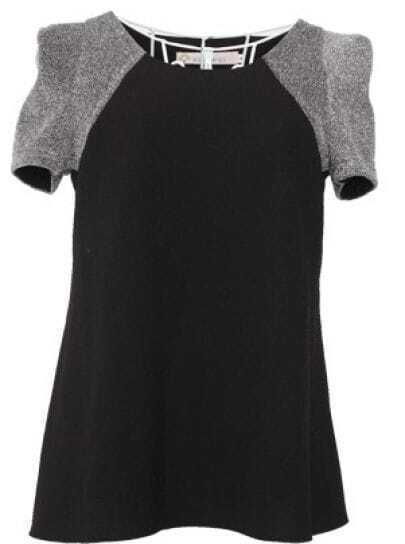 Black Raglan Short Sleeve Chiffon Flare Blouse