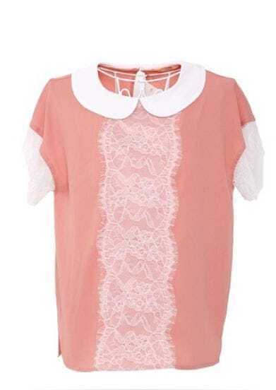 Pink Contrast Collar Short Sleeve Floral Lace Trim Chiffon Shirt
