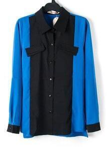 Blue Long Sleeve Contrast Collar and Cuffs Chiffon Shirt