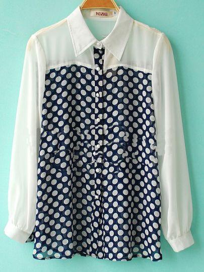 Navy Long Sleeve White Polka Dot Pleated Back Panel Chiffon Shirt