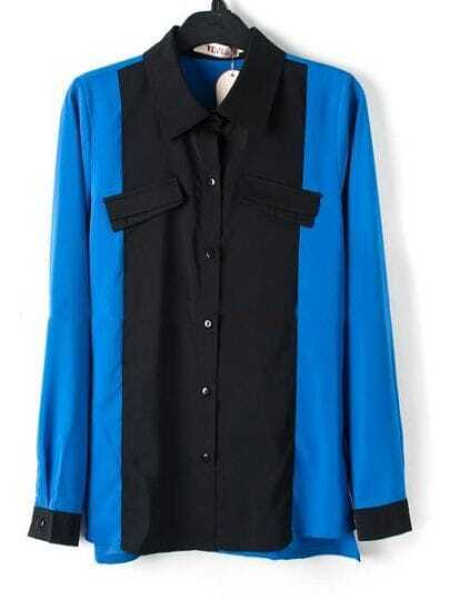 Blue Long Sleeve Contrast Collar and Cuffs Chiffon Shirt