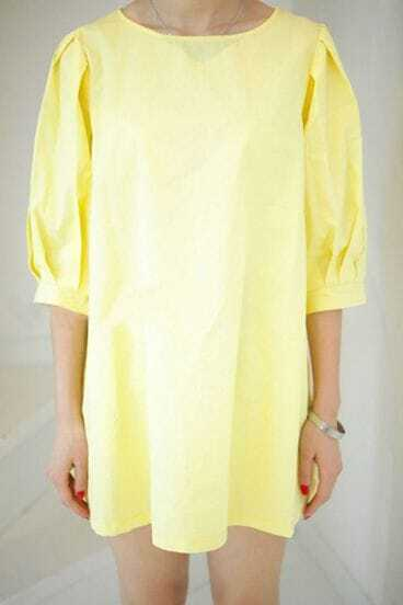Yellow Round Neck Puff Half Sleeve Dress With Pocket