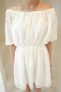 Beige Elastic Waist Off The Shoulder Half Sleeve Lace Dress