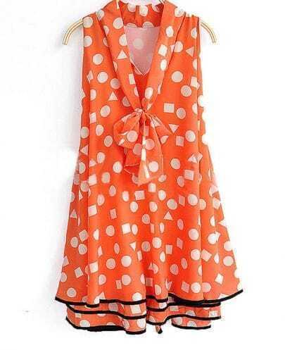 Orange Polka Dot Pussy Bow Sleeveless Ruffle Hem Dress