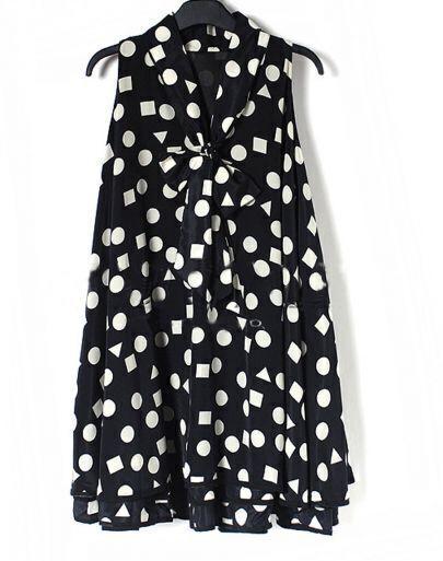 Black Polka Dot Pussy Bow Sleeveless Ruffle Hem Dress