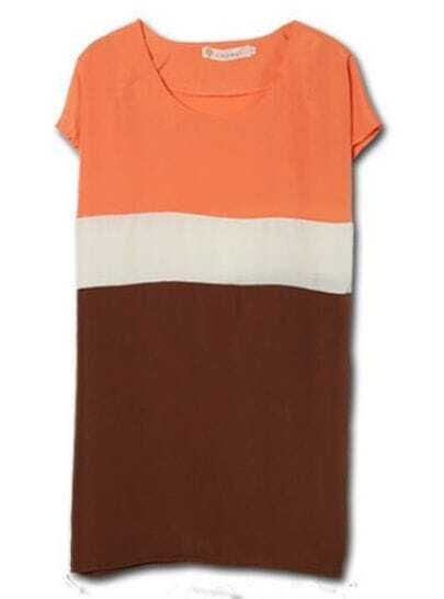 Orange Stripe Round Neck Short Sleeve Batwing Chiffon Blouse