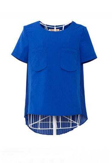 Royal Blue Short Sleeve Chiffon Pleated Back Zip Shoulder Blouse