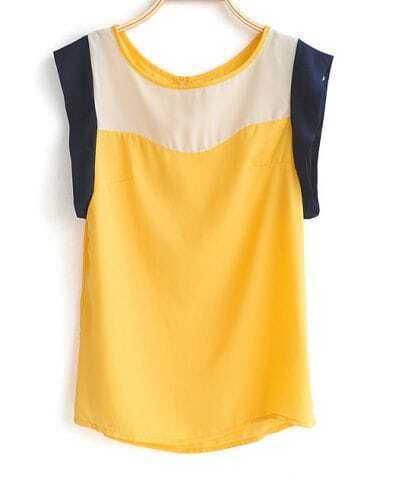 Yellow Low Cut Armholes Sleeveless Chiffon Button Back Blouse