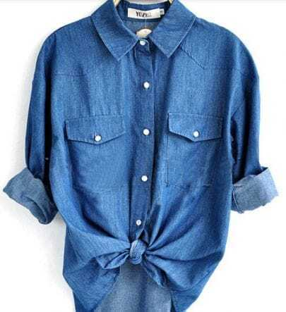 Blue Long Sleeve Pocket Denim Shirt with Print Back