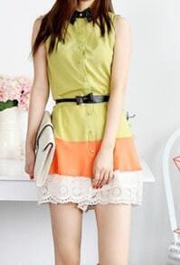 Green Contrast Star Print Collar and Hem Sleeveless Chiffon Shirt