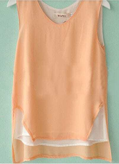 Orange V-neck Sleeveless High-low Chiffon Layers Blouse