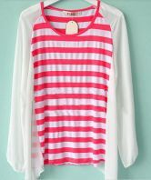 Red and White Stripe Long Sleeve Patched Chiffon Back Hanky Hem Blouse