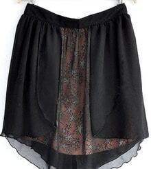 Black High Waist Star Print Layers Chiffon Skirt with Back Zip