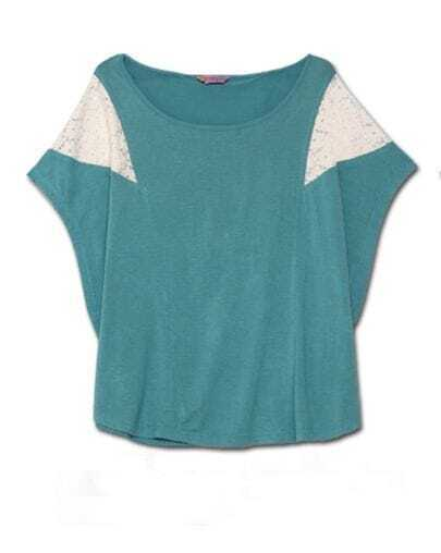 Light Green Short Dolman Sleeve T-shirt with Lace Detail