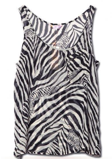 Black and White Zebra Print Tank Top