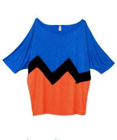 Color Block Wave Stripe Boat Neck Short Dolman Sleeve T-shirt