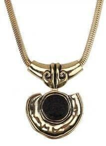 Vintage Gold Heart With Round Black Tourmaline Necklace