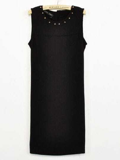 Black Round Neck Sleeveless Rivet Chiffon Dress