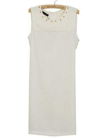White Round Neck Sleeveless Rivet Chiffon Dress