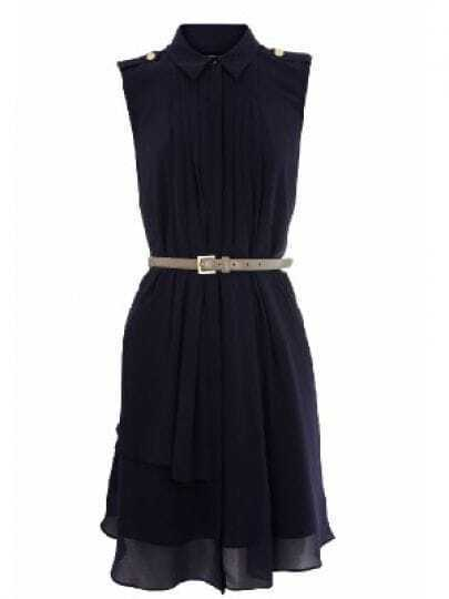 Navy Round Neck Sleeveless Asymmetrical High Waist Chiffon Dress