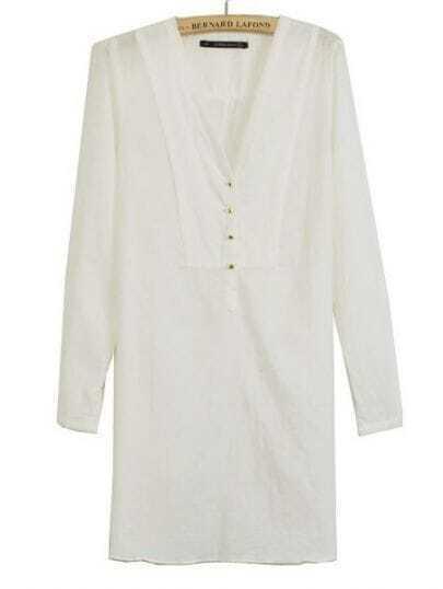 White V-neck Placket Long Sleeve Studded Blouse