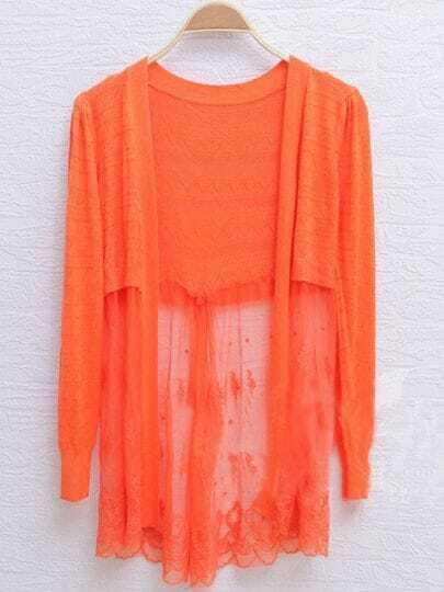 Orange Long Sleeve Floral Lace Back Cardigan