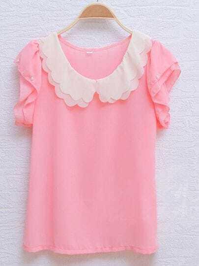 Pink Scallop Layered Neck Ruffle Pearls Sleeve Chiffon Blouse