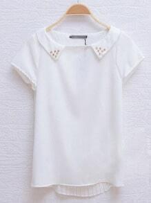 White Short Sleeve Stud Embellished Collar Pleated Back Blouse