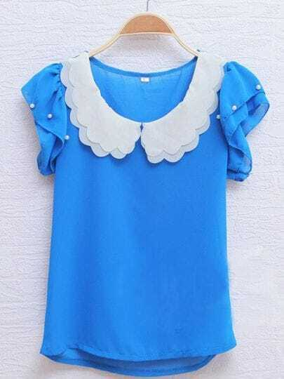Blue Scallop Layered Neck Ruffle Pearls Sleeve Chiffon Blouse