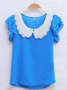 Blue Scallop Layered Neck Ruffle Pearls Sleeve Chiffon Blouse