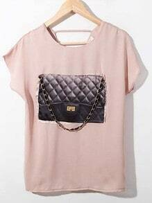 Pink Batwing Sleeve Handbag Print Chiffon Cut Out Back Shirt
