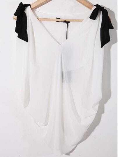 White V-neck Sleeveless Batwing Bow Shoulder Chiffon Shirt