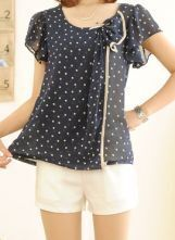 Navy Butterfly Sleeve Polka Dot Bow Ruffle Front Blouse