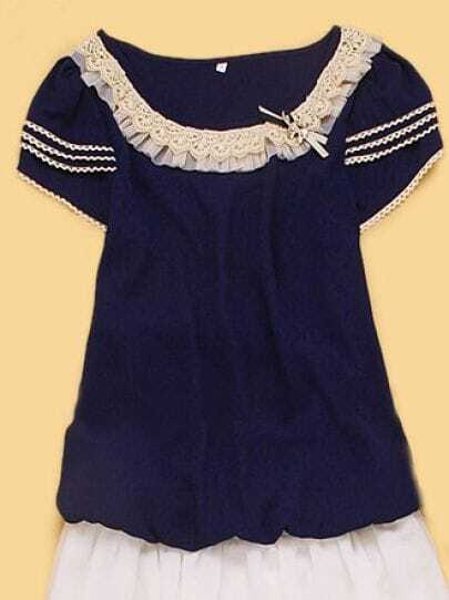Navy Mesh Crochet Trim Short Sleeve Bowknot Blouse