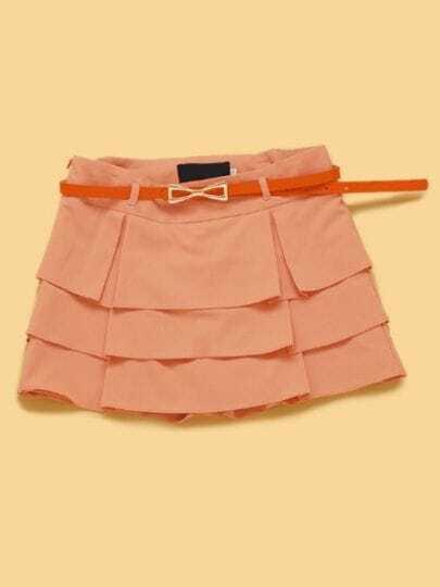 Pink Mid Waist Drawstring Waist Ruffles Tiered Shorts
