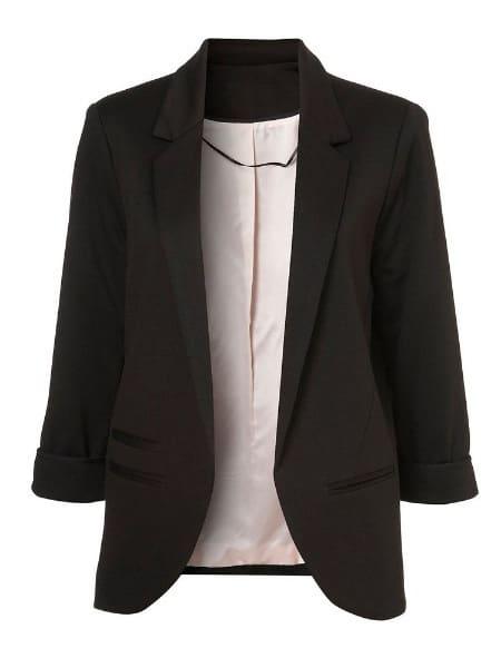 Boyfriend Ponte Rolled Sleeves Blazer -SheIn(Sheinside)