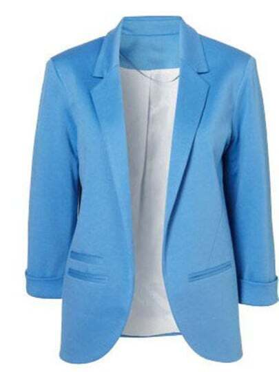 Blue Boyfriend Ponte Rolled Sleeves Blazer