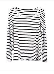 Black-white Stripe Long Sleeve T-shirt with Elbow Patched