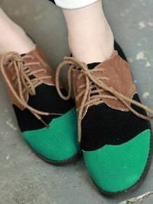 Green Vintage PU Corrected Grain Leather Suede Flat Pumps