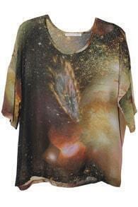 Coffee Galaxy Print Chiffon T-shirt