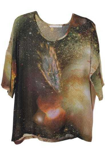 Coffee Galaxy Print Chiffon T-shirt