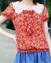 Orange Lace Collar Floral Ruffle Bib Chiffon Blouse
