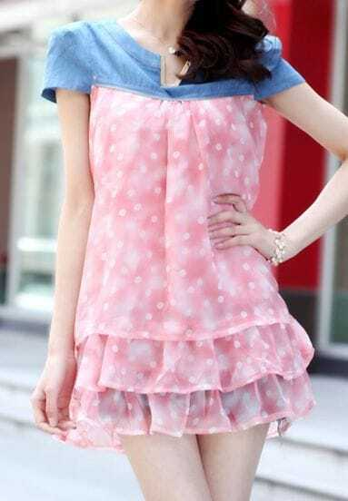 Pink Polka Dot Print Denim V-neck Chiffon Blouse with Tiered Ruffle