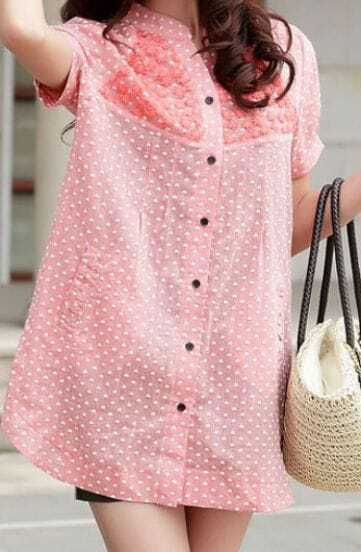 Pink Embroidery Short Sleeve Heart Swiss Pocket Side Blouse